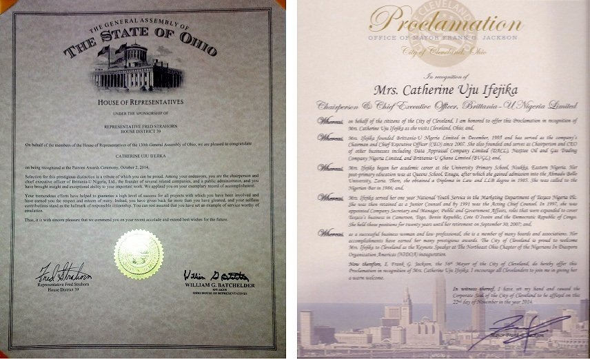 Brittania-U Chairman Honoured By Ohio State Government In The United States